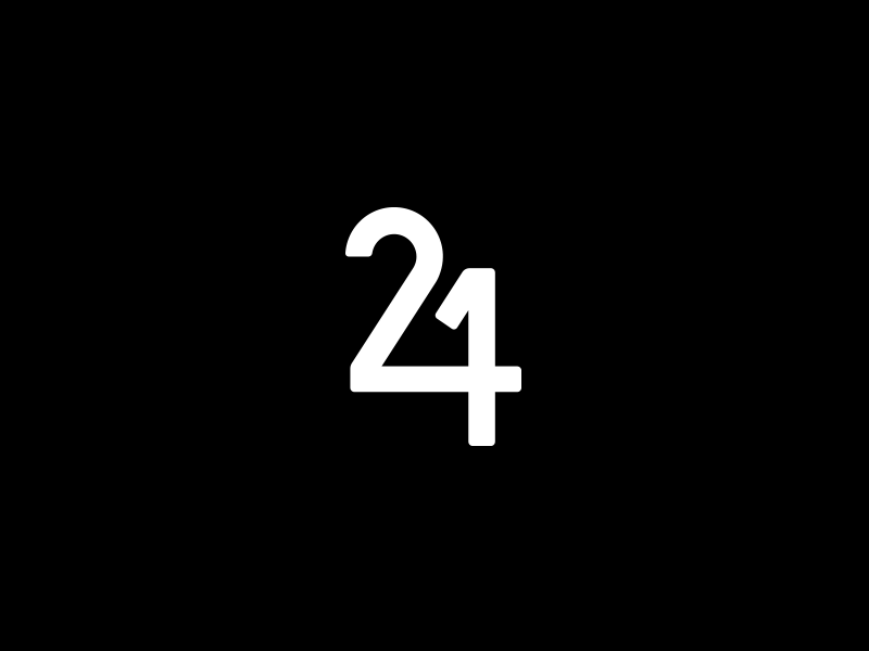 Two for One 2 1 4 custom simple logo monogram numbers number