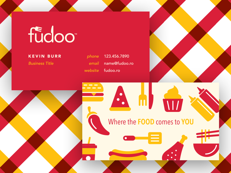 Fudoo Identity stationery business card identity branding brand mark icon logo knife fork delivery food