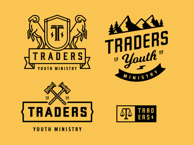 Traders Youth Ministry church badge logo hammer scale mountain bolt t trader group ministry youth