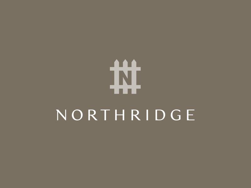Northridge Logo branding brand icon mark picket house home fence monogram logo