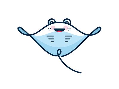 Manta Ray gillustration smile line character cute ocean sea fish ray manta
