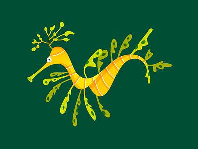 Leafy Sea Dragon illustration character creature ocean nature organic dragon sea leafy gillustration fish