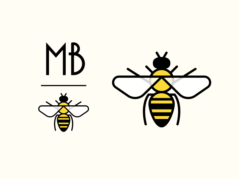 MBee mark icon logo deco art honey insect bug stationery bee