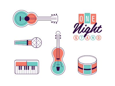 One Night Stand fiddle piano microphone icon instrument music guitar illustration logo