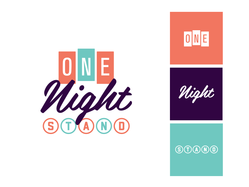 One Night Stand 🎵 🎶 typography custom sans serif script retro mark logotype event icon music logo