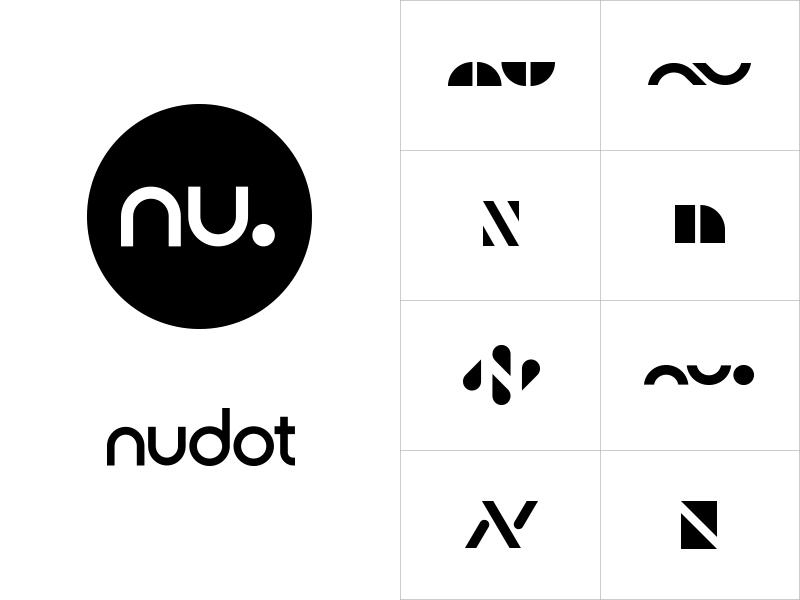 Nudot white black dot monogram icon wordmark logotype circle media logo