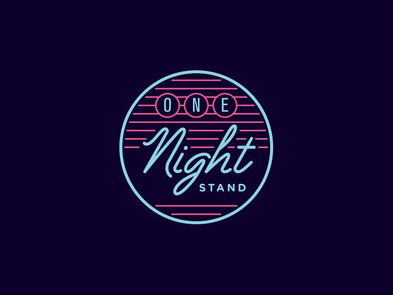 One Night Stand circle line type typography custom script mark logo badge bright lights neon