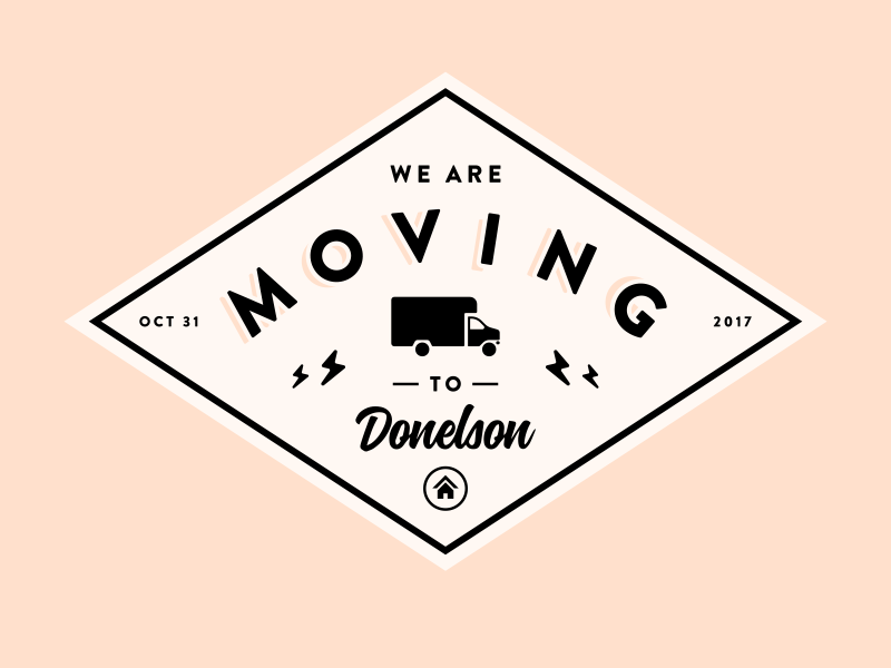 We are moving! 📫 🏠 vintage lightning bolt house diamond logo badge van truck moving