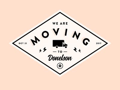We are moving! 📫 🏠 vintage lightning bolt house diamond logo badge van truck moving