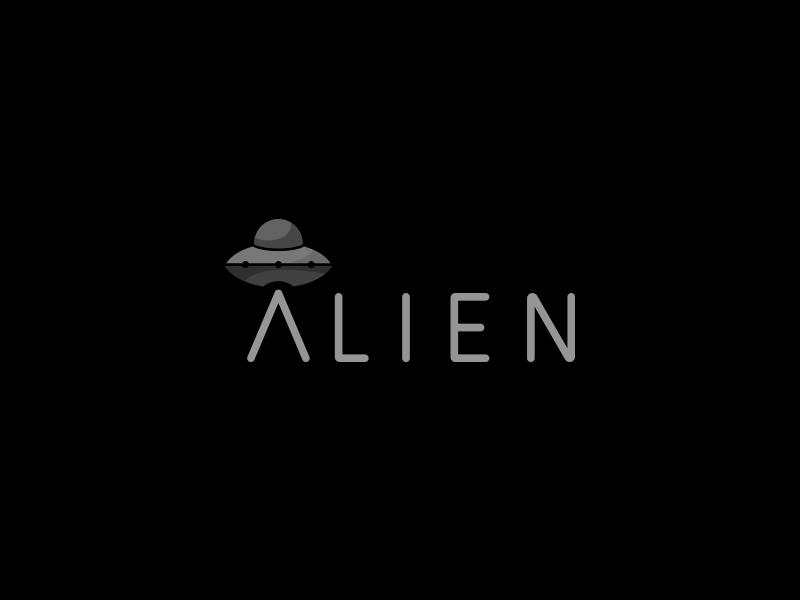 Alien wordplay abducted planet space terrestrial icon mark logo ufo ship alien