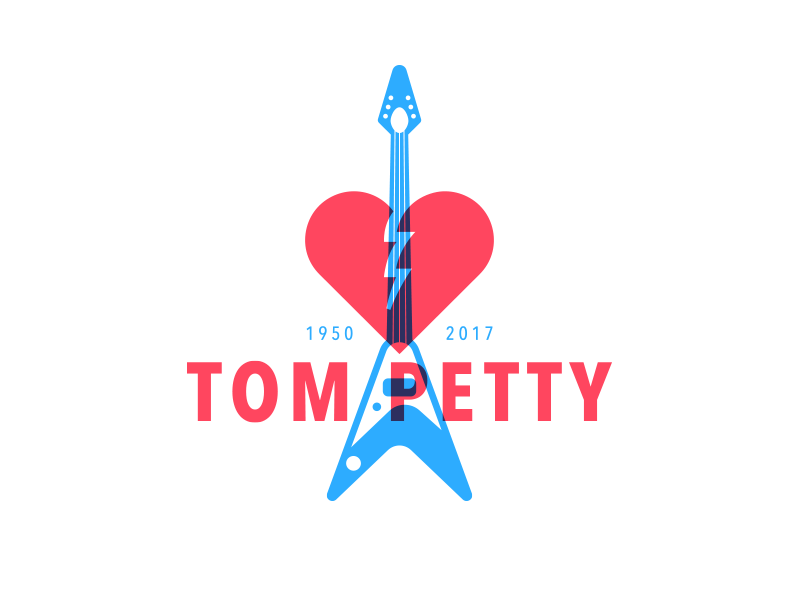 Tom Petty rip broken blue red logo heart guitar music petty tom