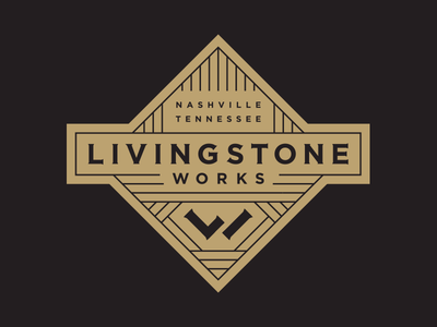 Livingstone Works typography monogram icon wood carpenter badge logo