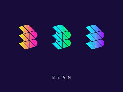 Beam geometric lines monogram modern construction 3d gradient beam icon mark logo