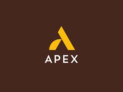 Logo Exploration letter monogram icon mark logo curve money financial brown yellow finance apex