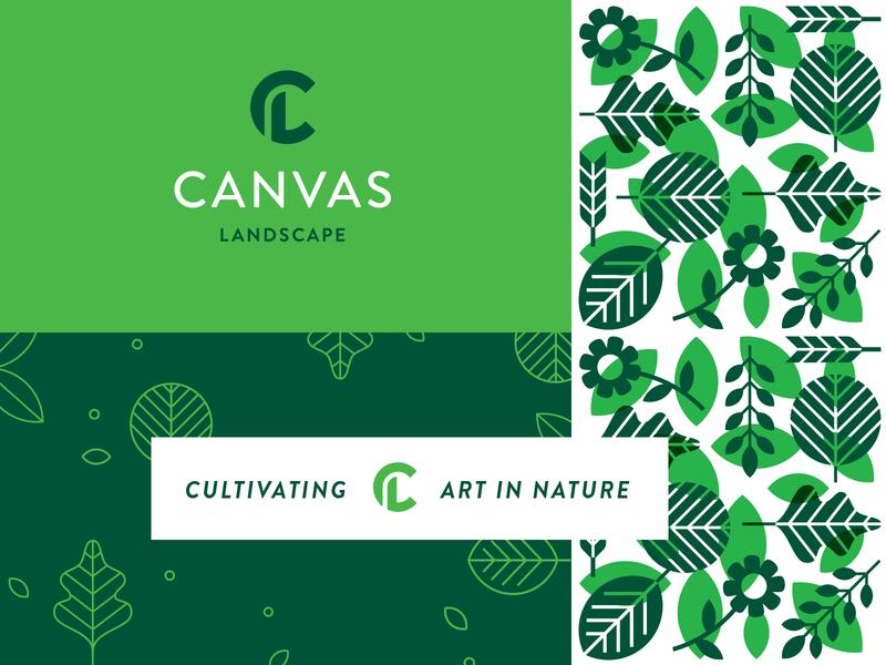 Canvas create organic green landscape nature leaves leaf pattern icon identity branding brand logo