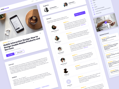 Anycourse - Course page reviews web course design ui ux