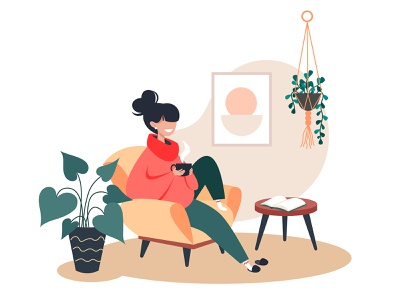Cosiness woman vector tea relaxation interior illustration houseplants hot home decor home happy girl flat drink cute cup cosy character book armchair
