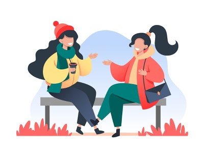 Young women sit on a bench and talking women woman vector talk social sitting relationship people illustration happy girl friendship friend flat discussion design communication character bench autumn
