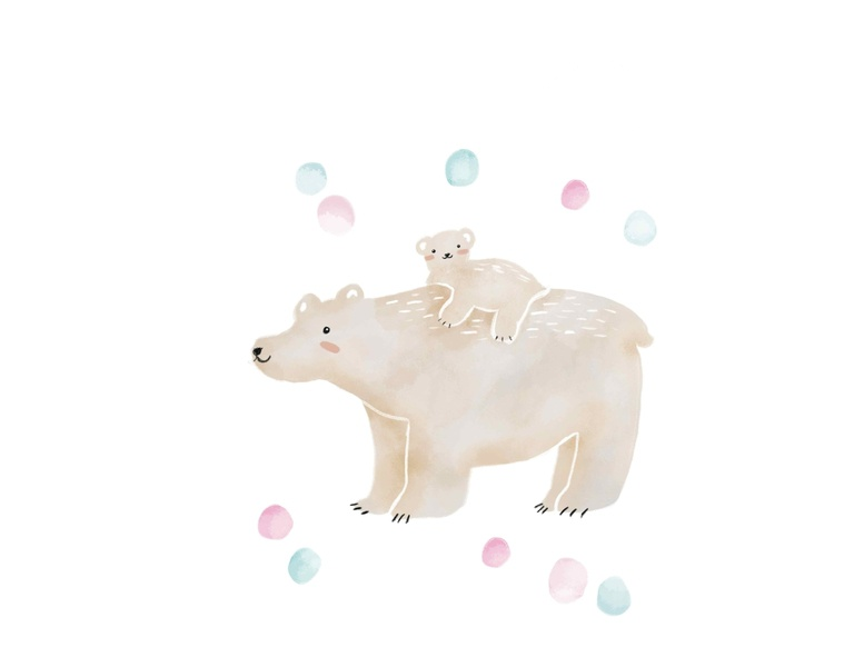 Polarbear Love animals illustrated watercolor art procreate poster paintings art painting watercolor design illustration