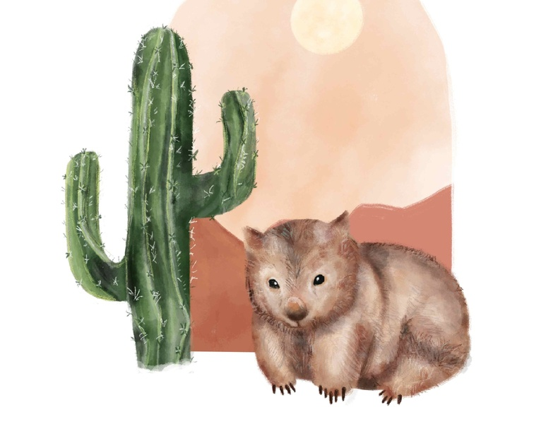Wombat in the dessert animals illustrated paintings watercolor art watercolor painting minimalistic art poster design illustration