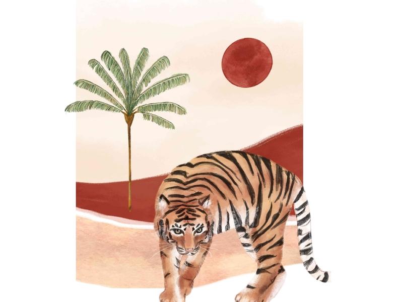 Tiger in the dessert painting animals illustrated bohemian poster art illustration design