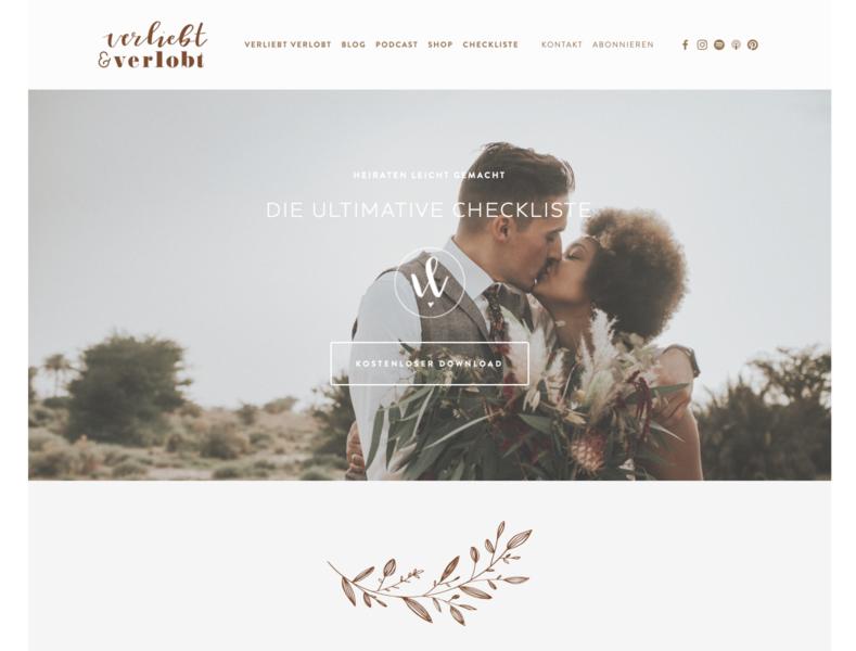 Website → Verliebt & Verlobt logo branding interface design website concept website design design