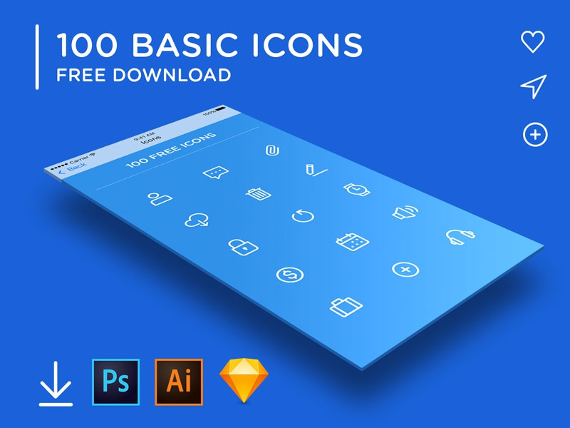 100 BASIC ICONS updated freebie free download sketchapp sketch illustrator photoshop vector icons freebies