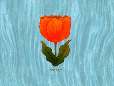 Worry plant mental health riso risograph risography flower tulip