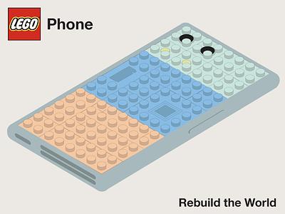 Lego Phone print branding ui mobile design bold vector typography type design product design lego