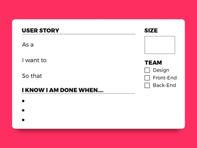 User Story Cards