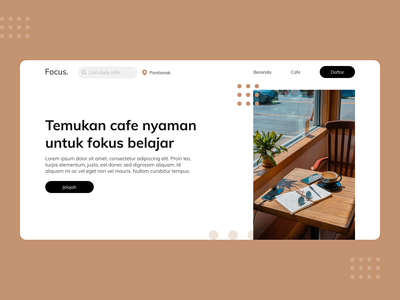 Study Cafe: Website Landing Page uiux minimal landingpage design ux website web design ui web