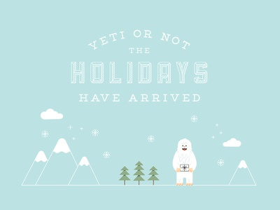 Yeti or Not yeti christmas holiday greeting snow tradesy