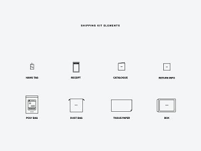 Shipping Kit Icons shipping kit icons illustrations packaging box receipt hangtag promo tradesy