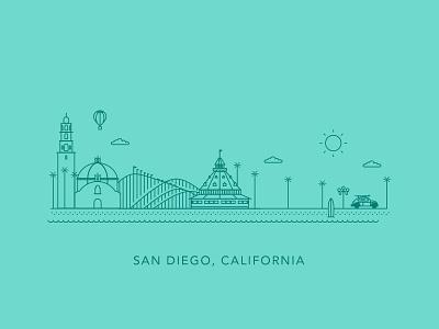 San Diego curology gas lamp surf bug vw coronado del mar balboa illustration california san diego