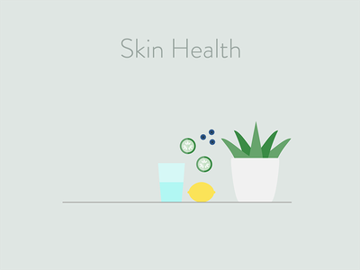 Skin Health plant food aloe blueberry water lemon cucumber health skin dermatology curology illustration