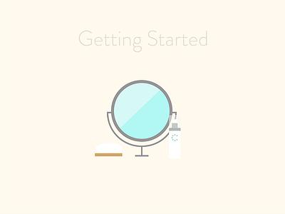 Guide Skin, Getting Started telemedicine soap mirror routine beauty skin dermatology curology illustration