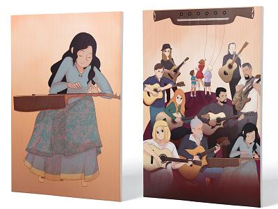 Fingerstyle Festival | Artwork I + Full Poster portrait art poster art music original art original character graphic design illustration