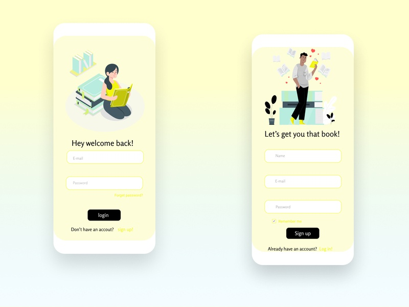 Log in/ sign up screen login screen signup screen signup page signin ux mobile ui app uiux typography vector illustration ui branding minimal