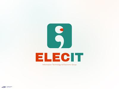 ELECIT design illustration electronic robotic it logo