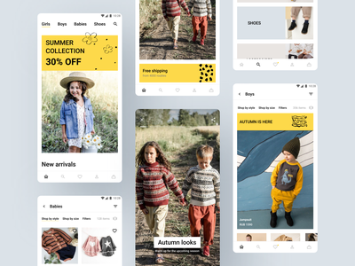 Kids clothing store e-commerce app android android app development stories android app design android app clothing store clothing clothes e-commerce design e-commerce e-commerce shop e-commerce app