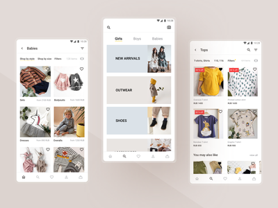 Kids clothing store application clothing store clothes e-commerce shop e-commerce app ecommerce android android app app design