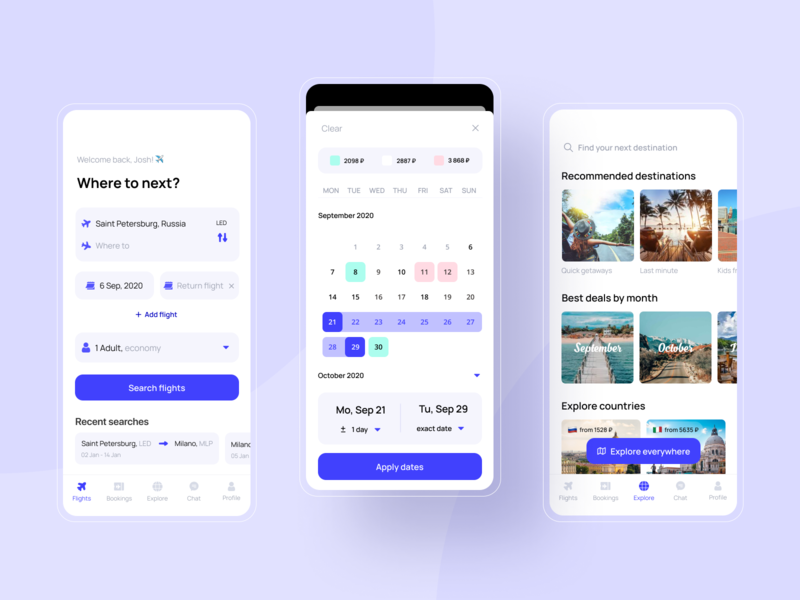 Plane tickets booking app booking data picker flight search calendar ios design concept avia airplanes planes plane tickets booking app