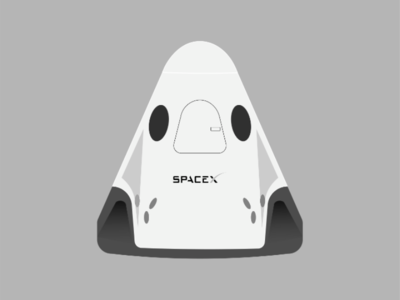 SpaceX dragon dragon black grey illustrator adobe logo ux design illustration spacex elon musk invention spaceship space
