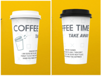 COFFEE TIME TAKEAWAY CUP PACKAGE illustration design branding grey adobe custom type coffee cup coffeeshop coffee takeaway cup
