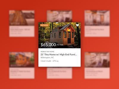 Tiny House Listing Cards product design ui design ui