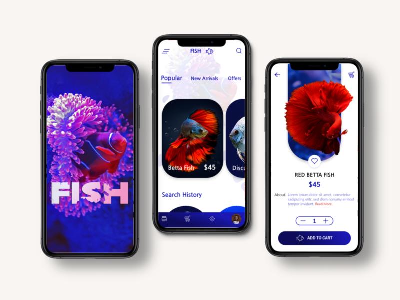 Aquarium Fishes E-commerce App Concept mobile typogaphy logo uxui uiux freelancer creative dribbble designs behance website branding application app design designer app illustration ui ux design