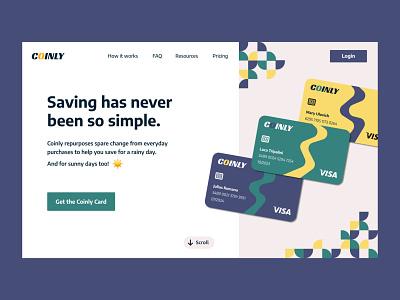 Coinly: Hero Section budget saving creditcard credit credit card product design product page product minimal landing page landing design hero finance app finance e-finance ux design uxdesign ux design