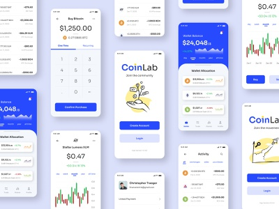 CoinLab Mobile Screens mobile app mobile ui mobile design bank cryptocurrency crypto wallet crypto banking mobile ui ux  ui webdesign web design app product design ux design uxdesign ux design