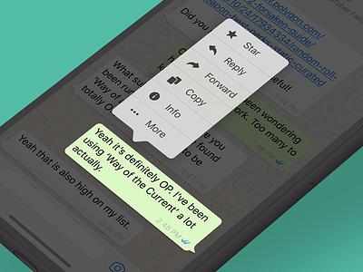 iOS Message Menu ios whatsapp