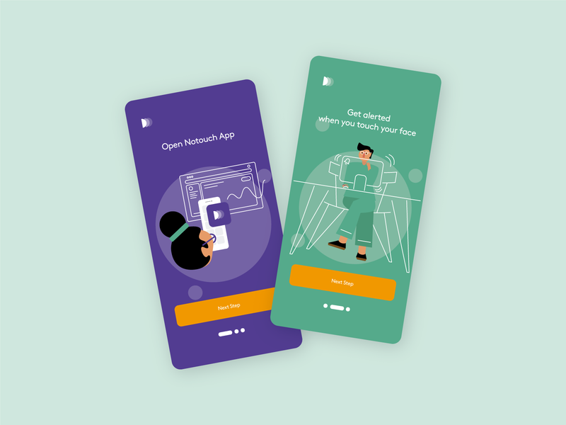 Notouch App flat illustration ux ui